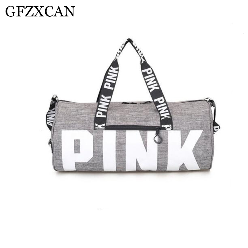 GFZXCAN brand new ladies fashion travel sports bag pink letters large capacity hand luggage bag clothing storage bag|Travel Bags| |  - title=