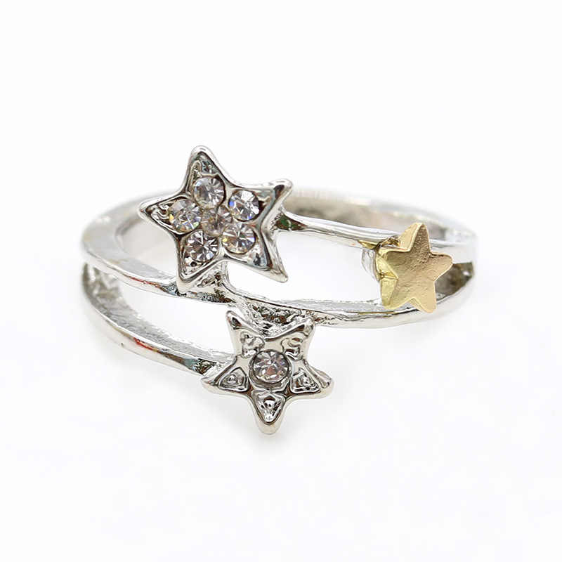 ot Sale Silver Color Five-pointed Star Stackable Finger Ring For Women Fashion Wedding Jewelry Christmas Gift Brincos