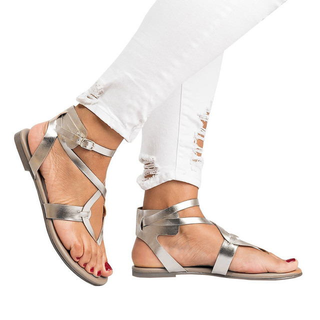 Summer Shoes Women Sandals Cross Strap Flat Ankle Roman Cusual Shoes Ladies Rome Buckle Strap Casual Sandals zapatos mujer