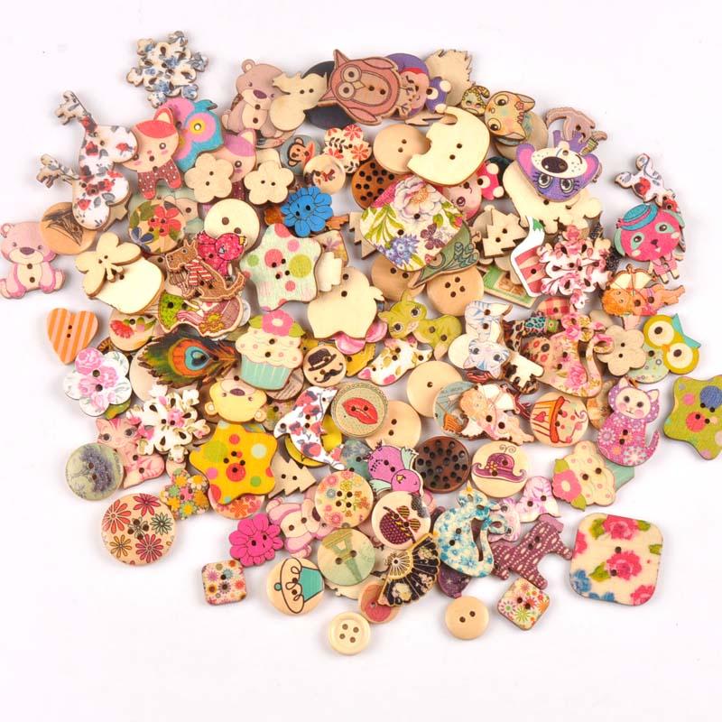 Деревянные декоративные пуговицы для пришивания одежды, скрапбукинга, рукоделия, домашний декор, 30 шт., 15-35 мм, MT1892 - Цвет: mt1893