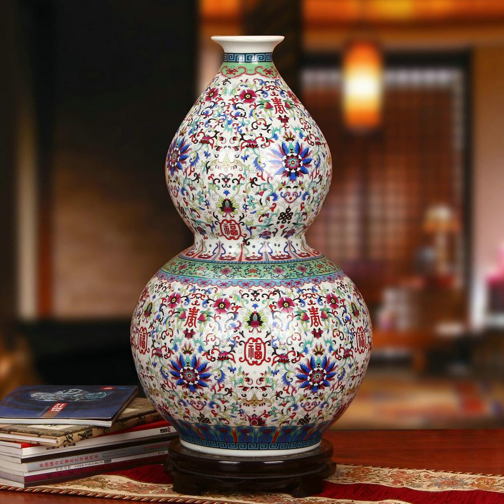 Klassische Jingdezhen Vase Boden Grosse Farbige Emaille Calabash Porzellan Schmckt Wohnzimmer Einrichtung KunstChina