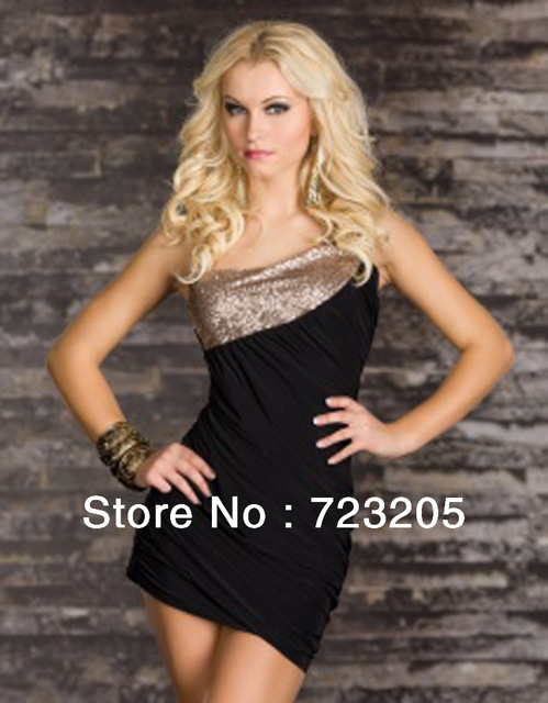 75a84d7410e Factory Price Hot Sexy Black Blue White One Shoulder Goddess Sequin Trims  Clubwear Women Fashion Ball Party Dress