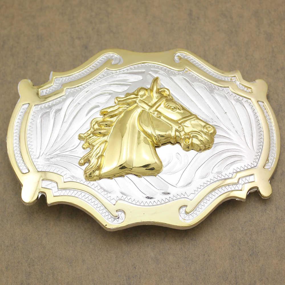 Western Country Gold Silver Cowboy brida caballo cabeza cinturón hebilla línea danza colección intercambio hombres joyería Accesorios