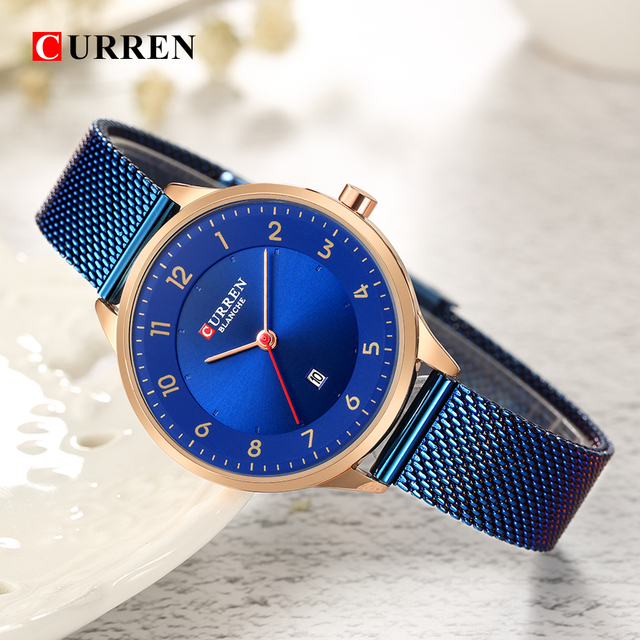 Curren Fashion women's watches Stainless Steel Gold watch women Curren Hot Selli