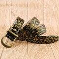 Diseñadores de Lujo de La Cintura Femenina Correa de Cuero Genuino de la Marca Roca de Las Mujeres Punk Cinturones Cowskin para Los Pantalones Vaqueros de Graffiti Hip Hop Cráneo