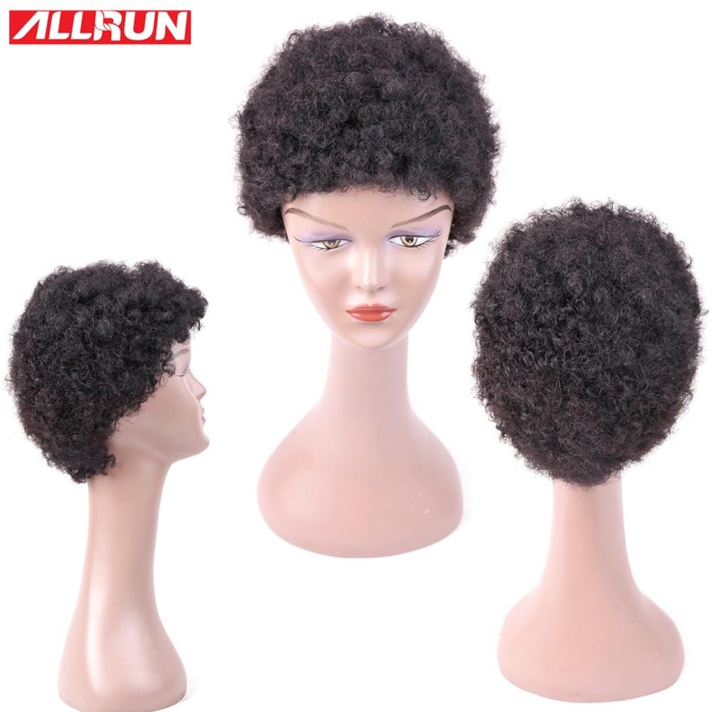 ALLRUN Φυσικό χρώμα Bob Περούκες Σύντομη - Ανθρώπινα μαλλιά (για μαύρο) - Φωτογραφία 4