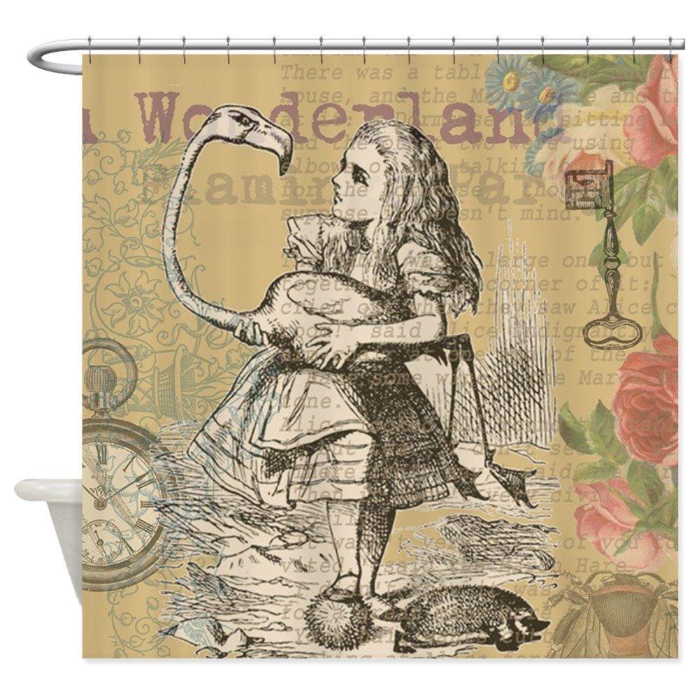 Alice In Wonderland Flamingo Decorative Fabric Shower Curtain Set And Anti Slip Bath Mat