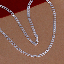 4mm/16-30inch men's chain necklace 2016 New Top Quality Silver Plated & Stamped 925 accessories jewelry vintage statement