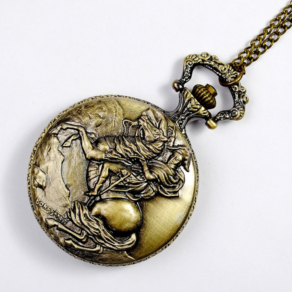 8845    Memorial Retro Bronze Relief Napoleon Knight Design Men's Gift Monte Fashion Chain Shi Ying Pocket Watch