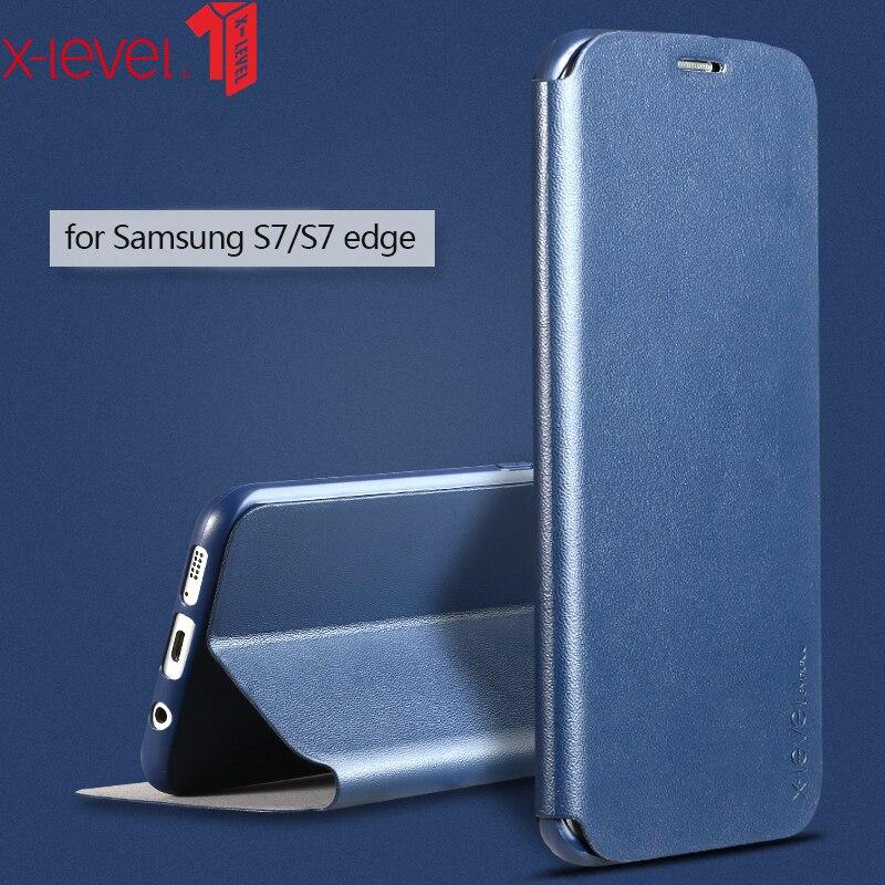 X-level caso para samsung galaxy s7 edge luxo couro original flip suporte capa coque para samsung s7 caso