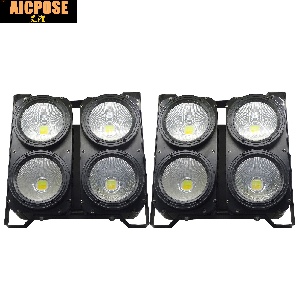 2units Professional Combination 4x100W LED blinder light 4eyes COB Cool/Warm White LED Wash Light High power DMX Stage Lighting