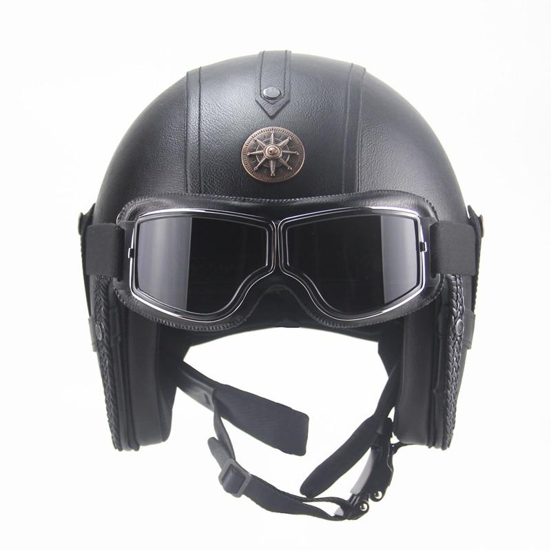 Бесплатная доставка ПУ кожа для шлемов 3/4 мотоциклетный Чоппер велосипедный шлем с открытым лицом винтажный мотоциклетный шлем