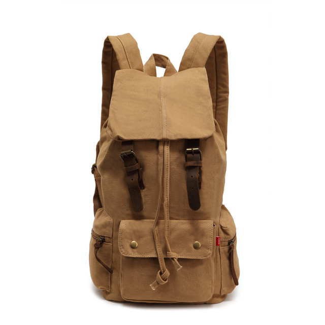 07dd65244 Khaki Vintage Leather Military Canvas Backpack Men's Travel Bag Men Women  School Bag Backpack Rucksack