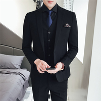 Pure Color Mens Formal Wear Black Suits Slim Elegant Men Wedding Groom Dress set Size 48 56 Male Suit Jacket + Vest + Pants