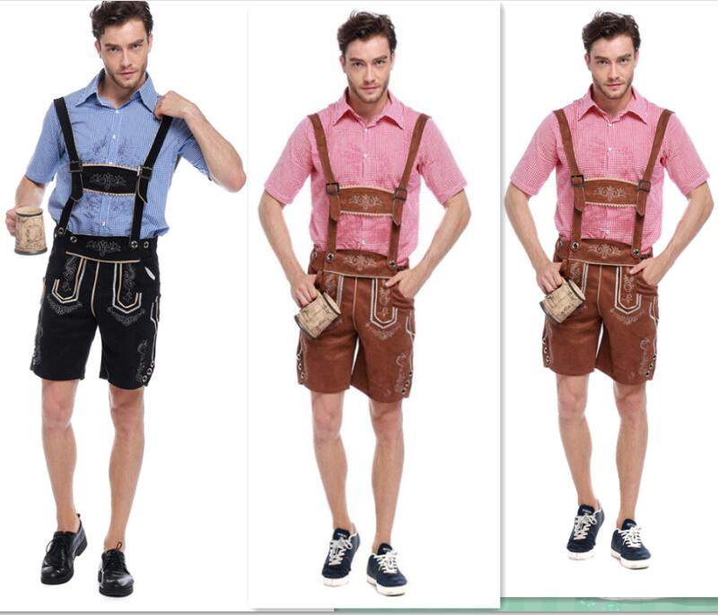 Bavarian German Beer Deluxe Men Faux Suede Lederhosen Oktoberfest     Bavarian German Beer Deluxe Men Faux Suede Lederhosen Oktoberfest Costume  Outfit puls size M L XL German Beer Men Fancy Costume in Sexy Costumes from