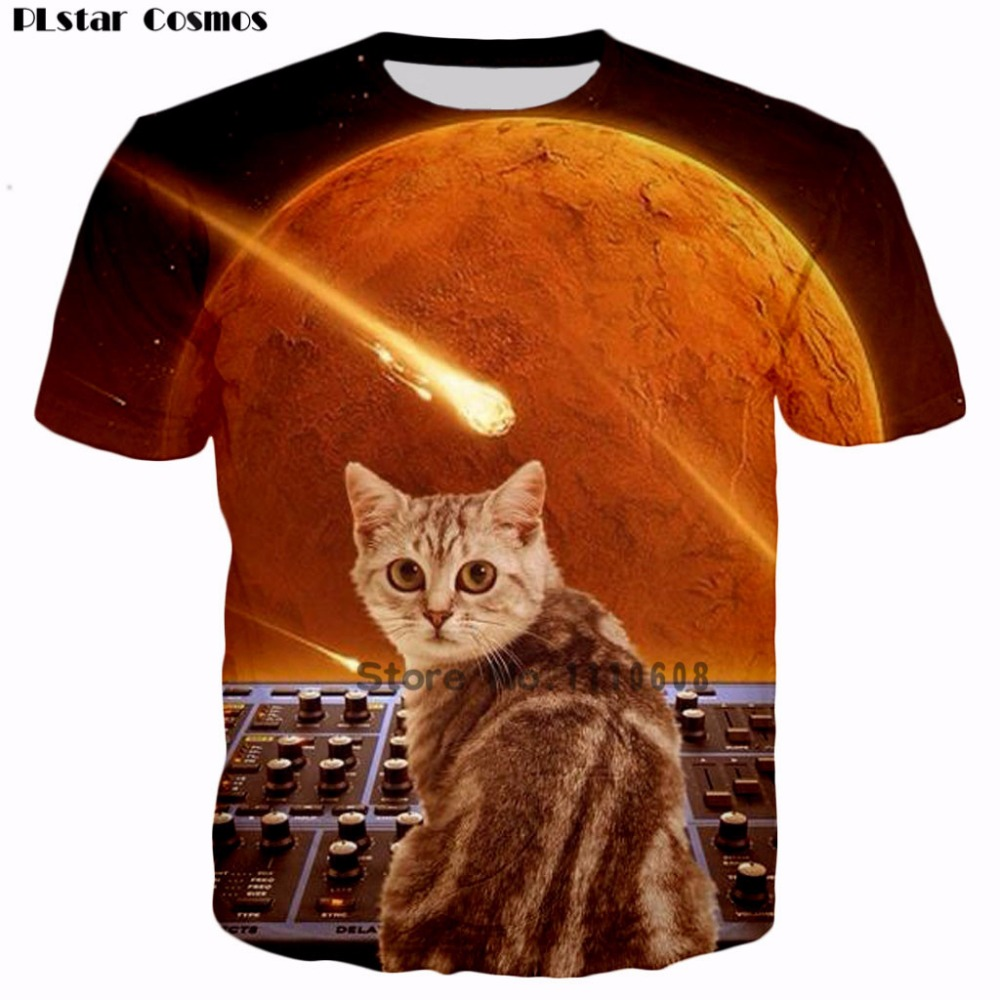 PLstar Cosmos Hipster cats on synthesizers in space 3D Print T Shirts Short Sleeve Hipster Hip Hop meteor cats shirts women/men