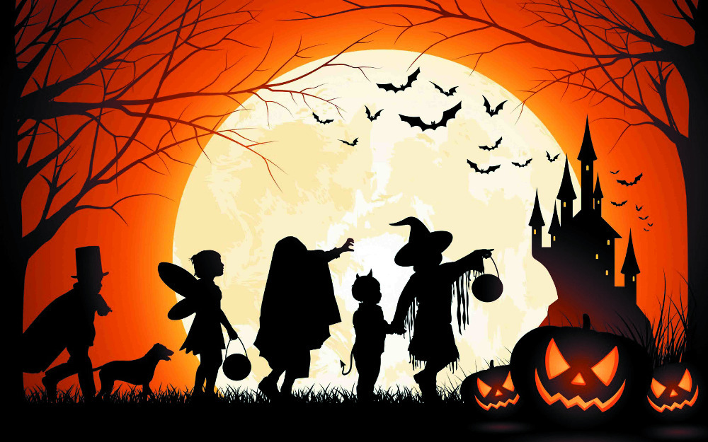 b40ws hd home wallpaper pumpkin witch halloween party silk art print wall ornament unframed - Halloween Party Wallpaper