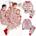 Conjunto de Pijama de Natal dos homens 2016 Homens Adultos Da Família Pijamas Set Pijamas Roupa de Dormir Pijamas Set Inverno Sleepwear Moda S-XXXL
