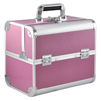 Large Space Beauty Make Up Nail Tech Cosmetic Box Vanity Case Storage Pink