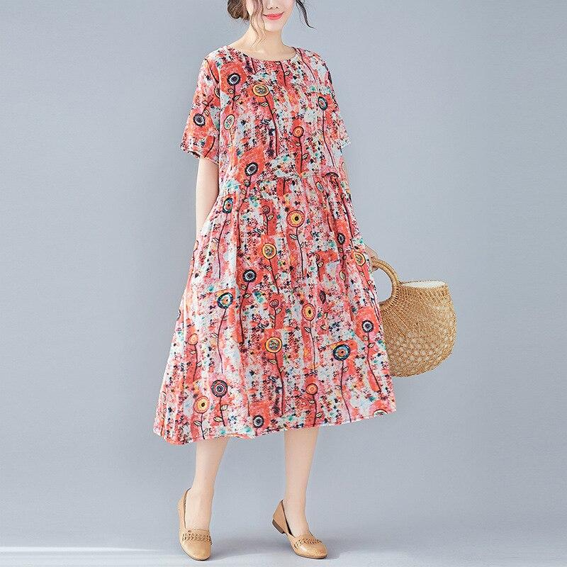 Johnature New Cotton Linen Women Dresses O Neck Short Sleeve Print Casual Koraen Loose Simple Joker Women Dresses 2019 Summer Dresses Aliexpress