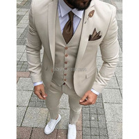 Beige Slim Fit Men Suits 2019 3 Piece Jacket Pants Vest Custom Made Male Blazer Bespoke Wedding Groom Tuxedos for Prom