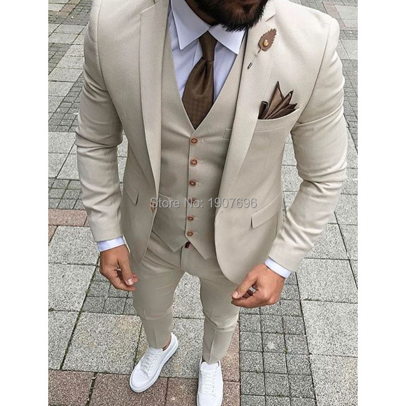 Khaki Slim Fit Men Suits 2019 3 Piece Set Jacket Pants Vest New Fashion Male Blazer Bespoke Wedding Groom Tuxedos For Prom Party