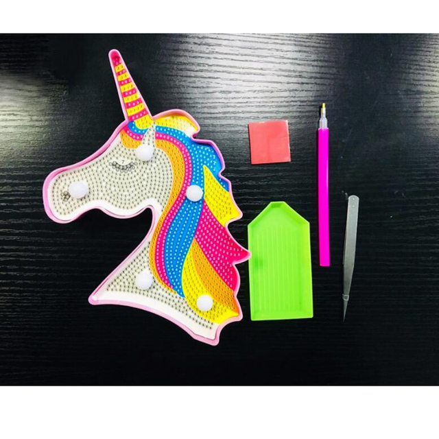 New Hot Sale Product 5d Diy Led Diamond Painting Unicorn Light Round Drill Home Decoration Embroidery