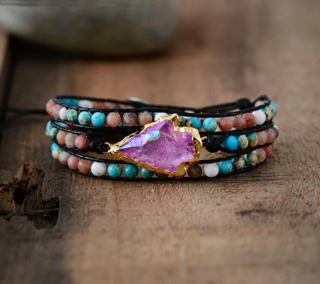 New Wrap Bracelet Natural Stones Gilded Arrowhead Quartz Charm 3 Strands Friendship Bracelet Boho Bracelet Dropshipping bracelet