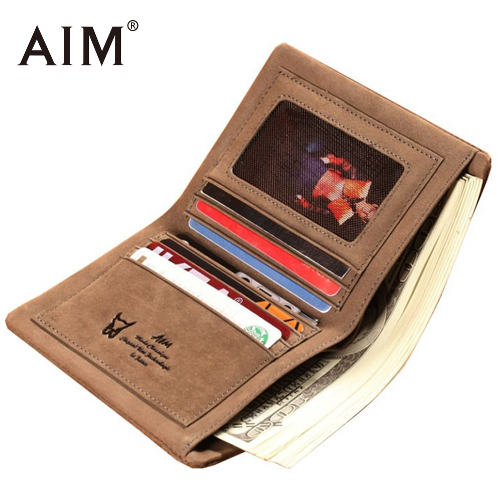 AIM New Design 100% Genuine Leather Men Wallet Vintage Swede Leather Small Men Purse Carteira Masculina Male Thin Wallets A212 baellerry small mens wallets vintage dull polish short dollar price male cards purse mini leather men wallet carteira masculina