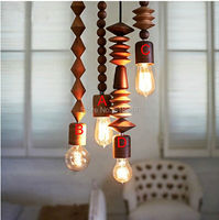 Native Wood Handmade E27 Edison Arts Bar Wooden Hanging Pendant Lamp Lights Lighting Bulbs Fixture