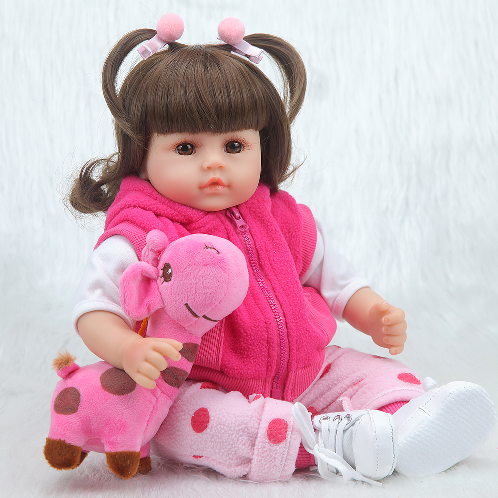 Forrsdor silicone baby reborn dolls 42cm lifelike adorable newborn Baby girl with Giraffe plush toys Children 39 s creative gifts in Dolls from Toys amp Hobbies