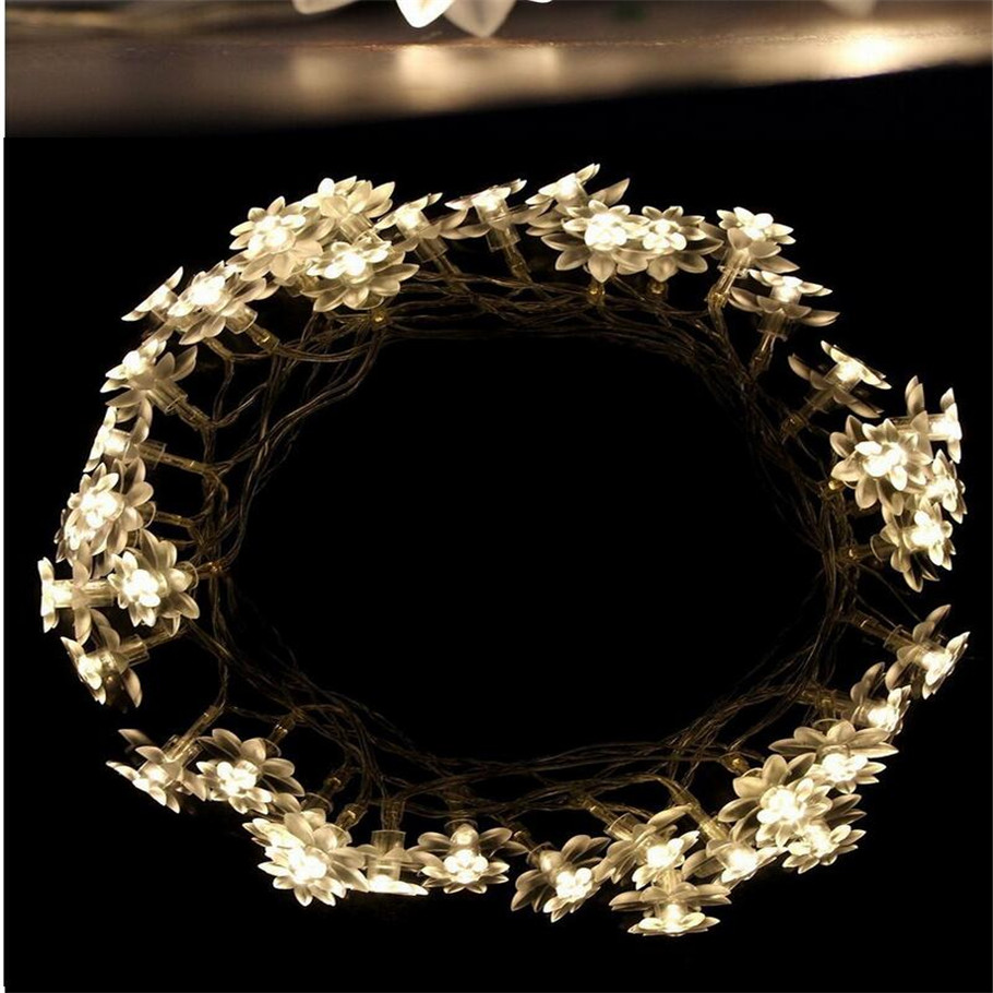 Well-Educated Hot Sale 5m 30lotus Flowers Led String Garland Light Xmas New Year Wedding Holiday Party Home Luminaria Decoration Lamp Led String Led Lighting