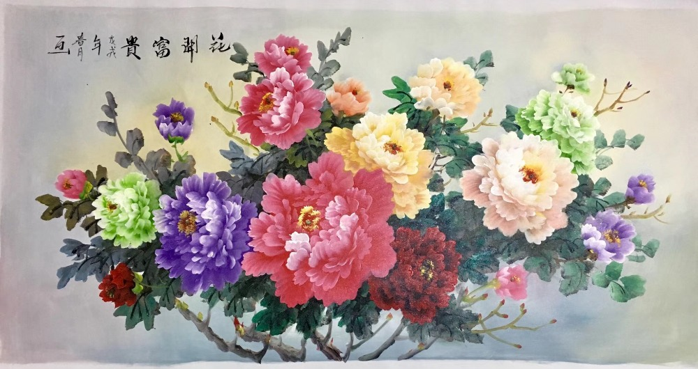 Hand Painted High Quality Oil Painting on Canvas Realist Peony Flower Canvas Painting Wall Art Picture Painting for Home DecorHand Painted High Quality Oil Painting on Canvas Realist Peony Flower Canvas Painting Wall Art Picture Painting for Home Decor