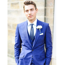 2016 New Custom Made Handmade Blue 3 Piece Men Slim Fits Suits Tuxedos Grooms Suit Men's Wedding Suits Formal Party Suits