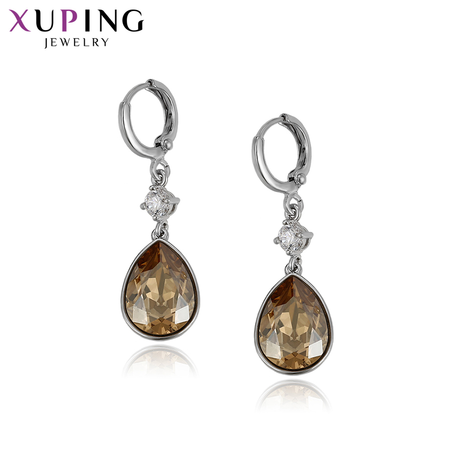 Xuping Earrings Water Drop Shaped European and American Style Crystals from Swarovski Simple Women Jewelry S143.2-93307Xuping Earrings Water Drop Shaped European and American Style Crystals from Swarovski Simple Women Jewelry S143.2-93307