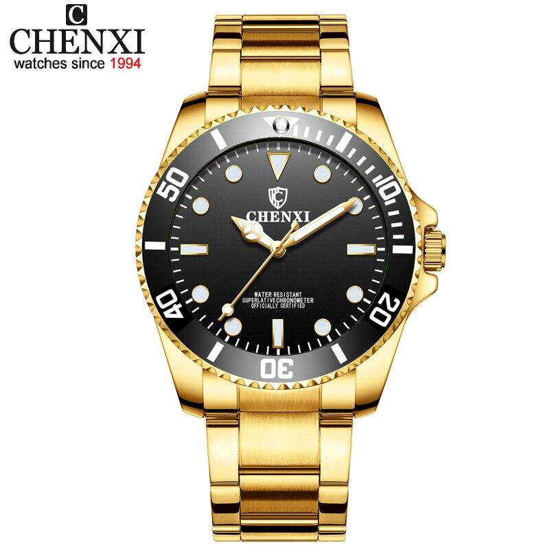 CHENXI Mode Hommes Montres Hommes Horloge À Quartz Montre Militaire Homme D'or Temps Heure bracelet en acier Inoxydable Montres Reloj Hombre