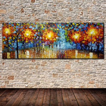 Large 3D Palette Knife Oil Painting Modern Landscape Abstract City Home Decor Wall Art Pictures Set Rain Tree Road On Canvas