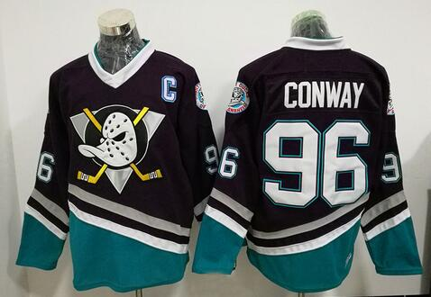 Ice Hockey Jersey Mighty Ducks Jersey  96 Charlie Conway  8 Teemu Selanne   9 Paul Kariya Hockey Jerseys Purple All stitched 115c876270b