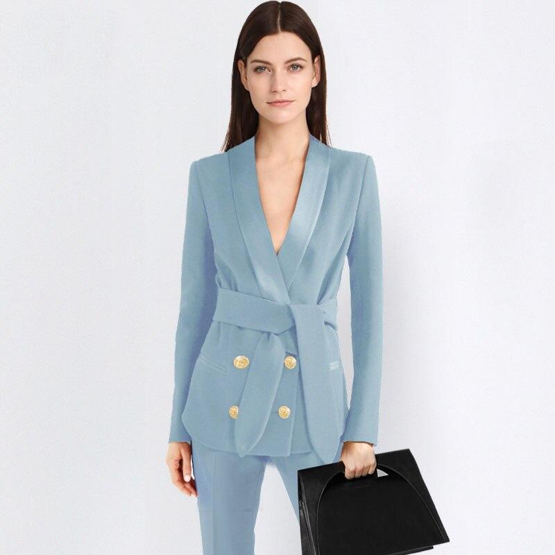 Women 2 Piece Sets blue Casual Blazer & High Waist Pant Office Lady Notched Jacket Pant Suits Korean suit Femme