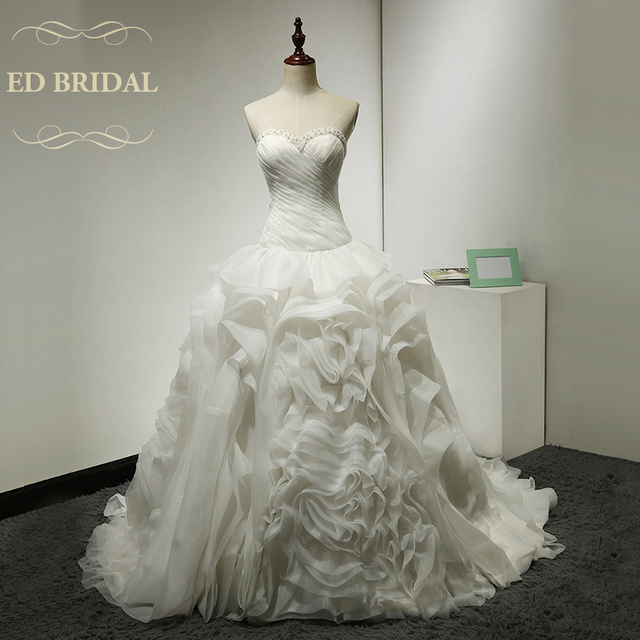 Ball Gown Organza Ruffle Wedding Dress Beaded Sweetheart Neckline Dropped Waist Gowns China Bridal
