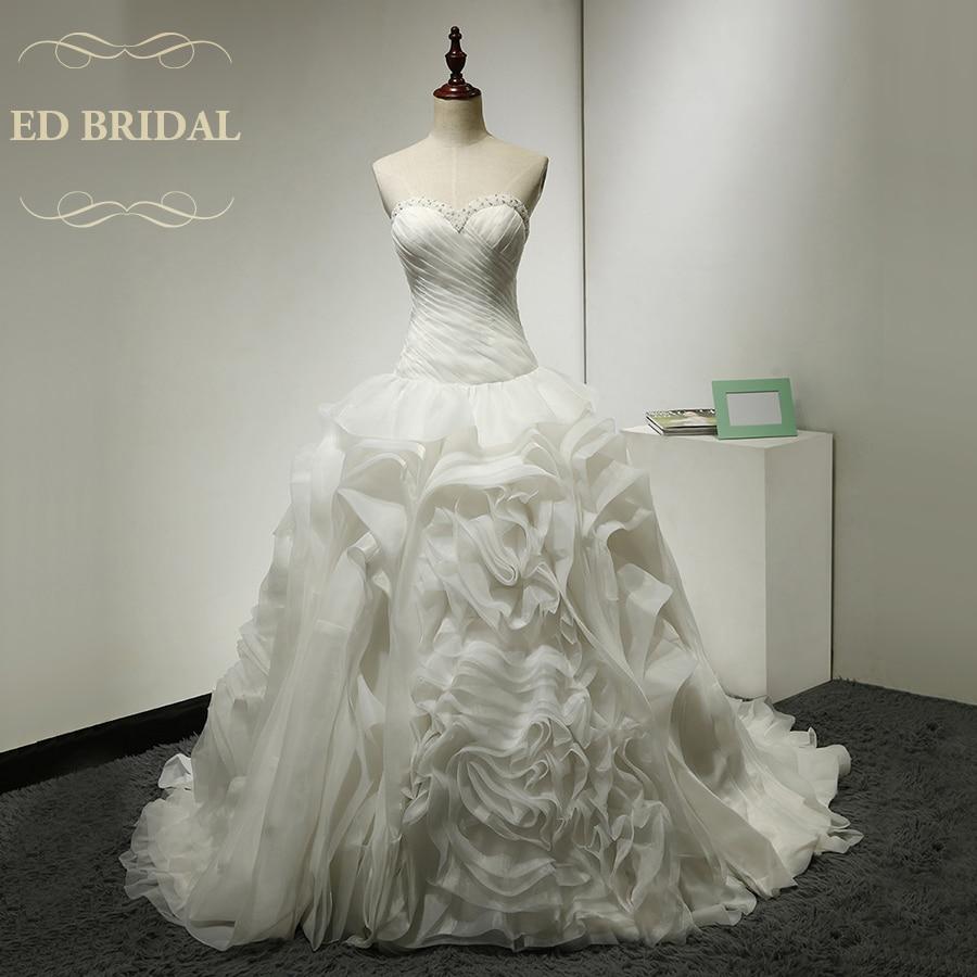 Ball Gown Organza Ruffle Wedding Dress Beaded Sweetheart Neckline Dropped Waist Wedding Gowns China Bridal Gowns robe de mariee