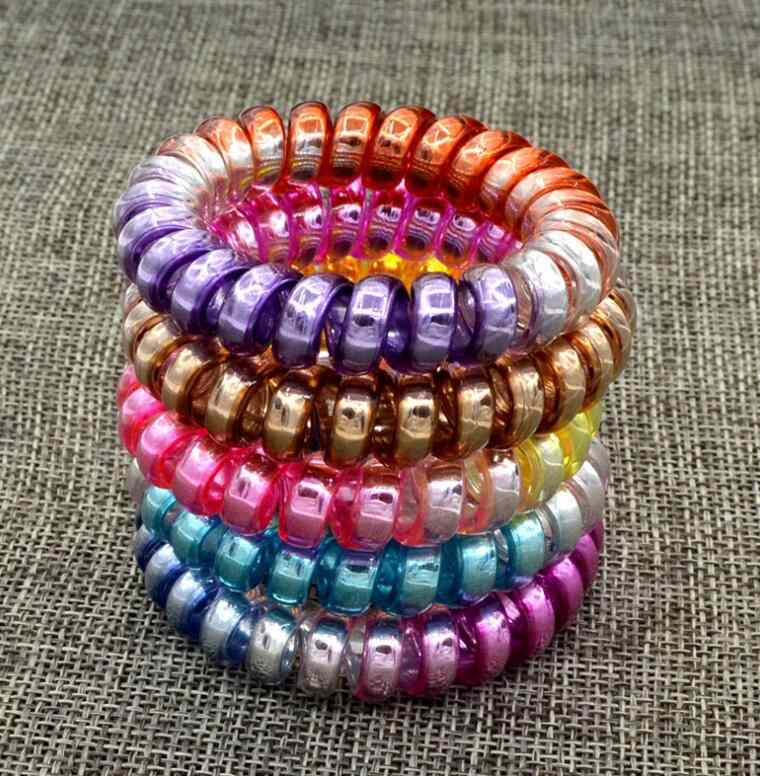 5 PCS Fashion Colorful Telephone Wire Elastic Hair Bands Rope Gum Hair Ring Spiral Rubber Bands Hair Accessories For Women Girl
