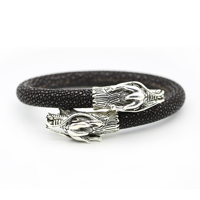Luxury Stingray Charm Bracelet Mens Thailand Leather Cool Wristband Sterling Silver S925 Double Dragon Head
