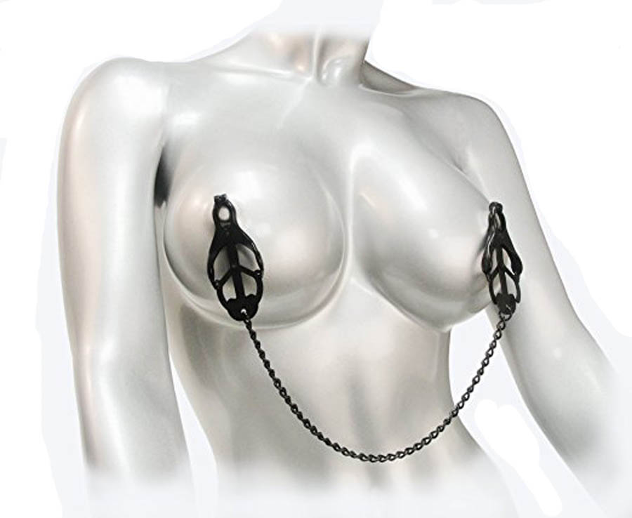 Black Fetish Japanese Clover Nipple Vagina Clamps,Stainless Steel Pinch Nipple Clip,Adult Sex Toys