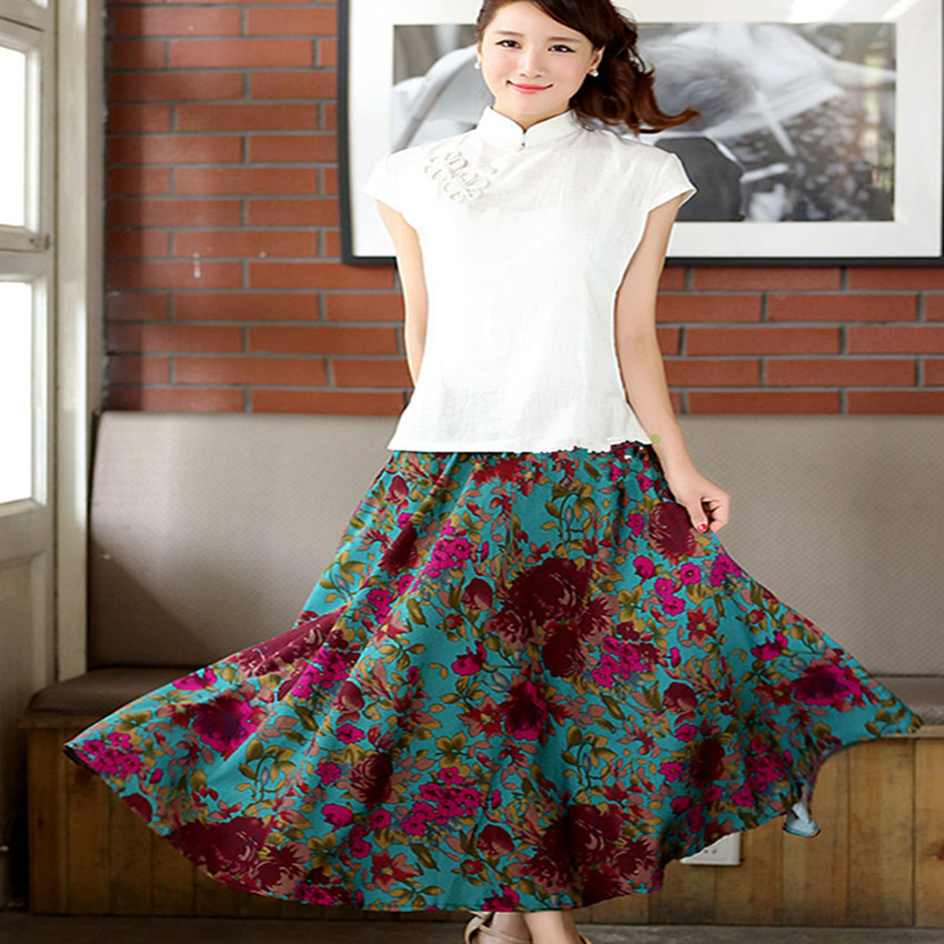 c16d24764470 Summer women skirt cloud big swing ethnic skirts folk custom Style linen  long skirts Ankle Length printed midi skirt women-in Skirts from Women's  Clothing ...