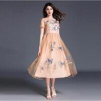 Embroidery Pink Lace Dress Women Elegant Long Ladies Party Dresses Orange Zaful Vintage Dress Wedding Elegant