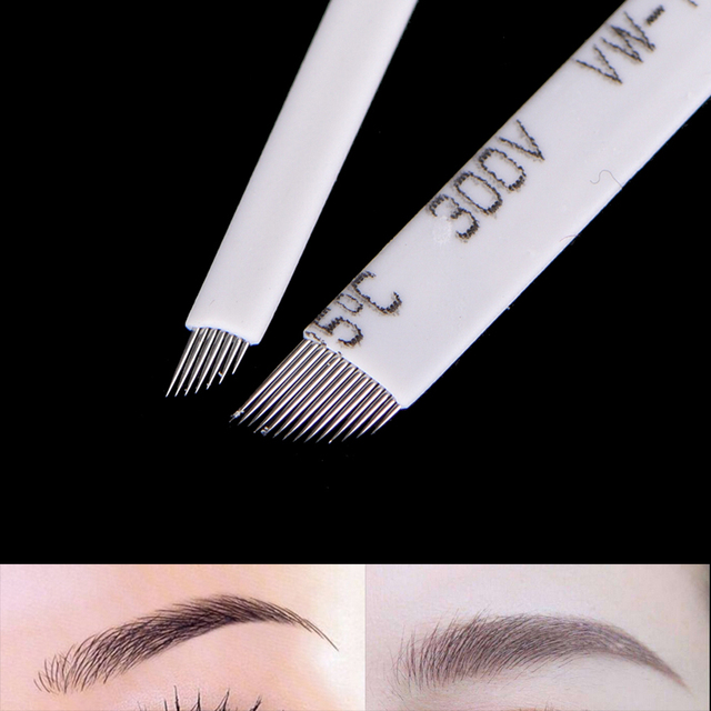 New 10Pcs/Set Pins Needle Blade 7/9/11/12/14 Pins Makeup Eyebrow Tattoo Microblading Needles For 3D Embroidery Manual Tattoo Pen 3