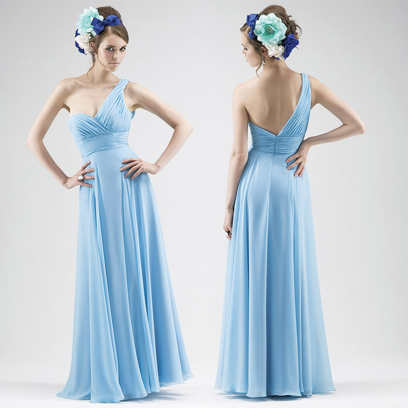 New 2016 Simple One Shoulder A-Line Floor-Length Chiffon Light Blue  Bridesmaid Dresses long dress Custom Made modest gown TBB03 b018277abbc1