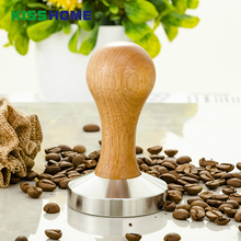 304 Stainless Steel Base Oak Handle Tamper Coffee Powder Hammer 58mm Support Customized Accessories
