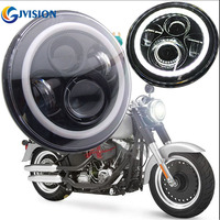 7'' INCH Round Motorcycle Black led Projector Bulb Daymaker Headlight Angel eyes for Harley Davidson Fatboy Heritage Softail